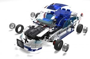 Disassembled Car On a White Background